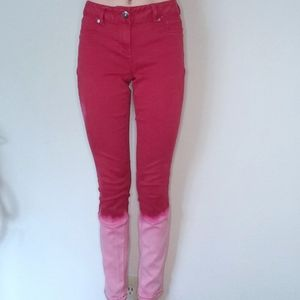 Red Ombre Bleached Skinny Pants